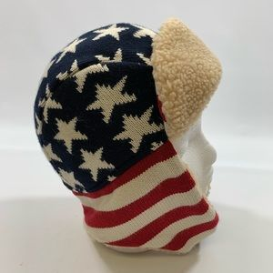 American Flag Sherpa Knit Ear Flap Hat